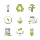 Clean energy and ecology protection flat icons set. Flat icons set of nature renewable energy, ecology protection and recycling, green innovation and technology vector illustration