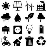 Clean Energy Environment Icons. Collection of 16 black and white clean energy, environment, green ecology, recycle icons, isolated on white background. Eps file vector illustration