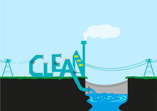 Clean Energy and Factory for Climate Plan. Treatment Plant or Power Source beside a Dam in stylized Clean typography. Editable Clip Art stock illustration