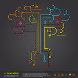 Clean energy flat infographic diagram template design in tree sh Stock Photo