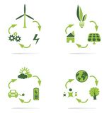 Green energy icon. Green energy icons set concept Stock Photography