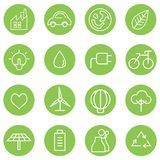 Clean energy icons. Set of 16 save and clean energy icons Royalty Free Illustration