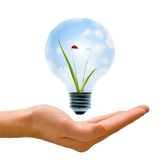 Clean Energy in our Hands. Clean energy, a light bulb with a bright sky and ladybug held up by a hand Stock Photo