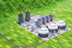 Clean energy plan for power plant. Power plant factory  with clean energy technology Stock Images