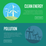 Clean energy and pollution banners Royalty Free Stock Images