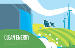 Clean energy. Sun, water and wind power Royalty Free Stock Images