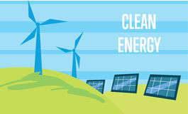 Clean energy. Sun and wind power generation Stock Image