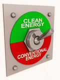 Clean energy switch from conventional. A switch from conventional energy to clean energy, green renewable energy and conservation of earth concept Stock Images