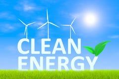 Clean energy. Technologies green grass landscape background 3d illustration Stock Photo