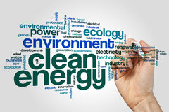 Clean energy word cloud concept on grey background Royalty Free Stock Photos