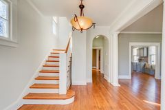 Clean entrance. Hgtv, house, stairs, hardwood, kitchen Stock Photography