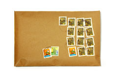 Clean envelope. With many colorful stamps Stock Photos