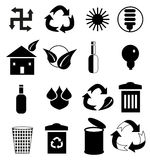 Clean Environment Black Icon Set. Vector illustration of clean environment black icon set on white background Stock Photography