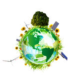 Clean environment concept 4. Green world concept with aerogenerator, solar panel and turbine Royalty Free Stock Photography
