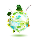 Clean environment concept. Green world concept.Aerogenerator, tree and flower are the subjects of this image Stock Images