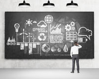 Clean environment. Man with a hand on head standing in front of a scheme of clean energy production drawn on a blackboard. Three lamps above. Back view. Concrete Royalty Free Stock Photo