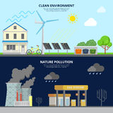 Clean Environment and Nature Pollution flat style hero image Royalty Free Stock Images