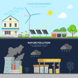 Clean Environment and Nature Pollution flat style Royalty Free Stock Photos