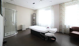 Clean european massage room. Luxury and very clean massage room in european style royalty free stock photography