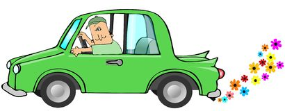 Clean Exhaust. This illustration depicts a green car with flowers coming from the exhaust Stock Image