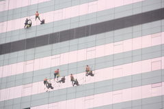 Clean the external walls of the workers in SHENZHEN LUOHU Royalty Free Stock Image