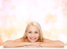 Clean face and shoulders of beautiful young woman Royalty Free Stock Images