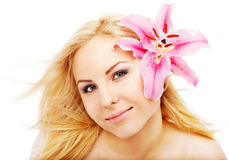 Clean female face lilium Royalty Free Stock Image