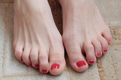 Clean female feet with pedicure. On beige carpet Stock Image