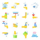 Clean icons set. Clean flat vector icons set. Collection of cleaning tools in hand. Housework supplies packaging, colorful domestic clean hygiene kitchenware Royalty Free Stock Images
