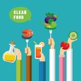 Clean food concept flat design Stock Photos