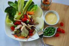 Clean food for diet and healthy. Fresh salad, cooked chicken, mayonnaise and ingredient for make clean food or diet food for healthy Royalty Free Stock Images
