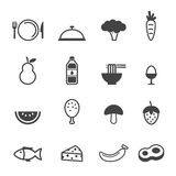 Clean food icons. Mono vector symbols Royalty Free Stock Images