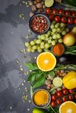 Clean food selection. Healthy food background, frame of organic food. Vegetables, fruits, nuts, spices royalty free stock photography