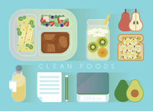 Clean foods design  blue set Stock Photos
