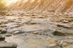 Mountain brook flowing among stones. stock images