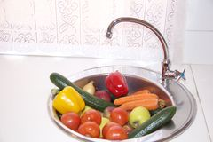 Fresh vegetables and fruits in a sink Royalty Free Stock Photo