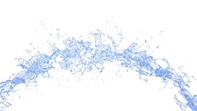 Clean fresh water arching stream. Isolated on white background stock photos