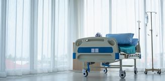 Clean and fully equipped hospital room. This is a standard bed for sick patients . Emergency case can be admitted royalty free stock images