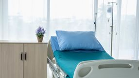 Clean and fully equipped hospital room. This is a standard bed for sick patients . Emergency case can be admitted stock images