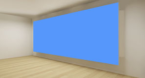 Clean gallery with blue chroma key backdrop Stock Images