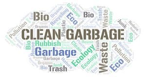 Clean Garbage word cloud. Wordcloud made with text only vector illustration