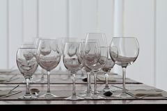 Clean goblets on the table Royalty Free Stock Image