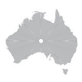 Clean Gray Wave Map of Australia isolated on white background. Blank Map of Australia. Centric circles. Stock Photo