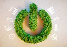 Clean green eco energy concept. Clean renewable energy concept - large green power button Royalty Free Stock Images