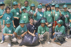 Clean & Green� environmental volunteers at a river cleanup, part of the Los Angeles Conservation Corps Stock Image
