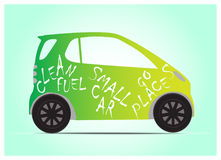 Clean green fuel small car. Small car using clean, green fuel. Environment-friendly, renewable energy Stock Images