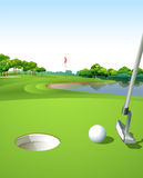 A clean and green golf course. Illustration of a clean and green golf course Royalty Free Stock Images
