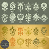 Clean and grunge vintage flowers vector illustration