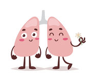 Clean healthy lungs vector illustration. Sketch clean healthy lungs, vector sketch hand drawn illustration on white background, Cartoon funny human red royalty free illustration