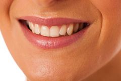 Clean healthy white teeth of smiling happy woman. Stock Photos